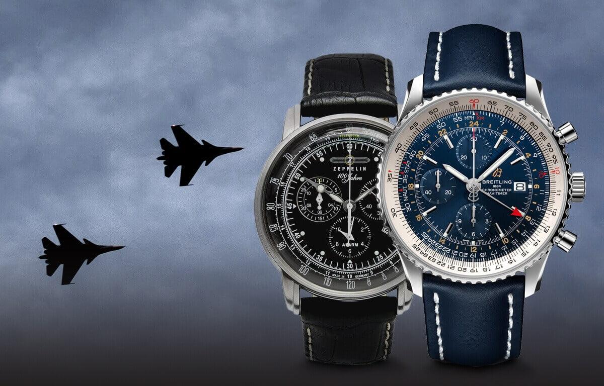 Am selectat cele mai cunoscute mărci de ceasuri aviator - mărcile Longines, Breitling, Zeppelin, Vostok Europe