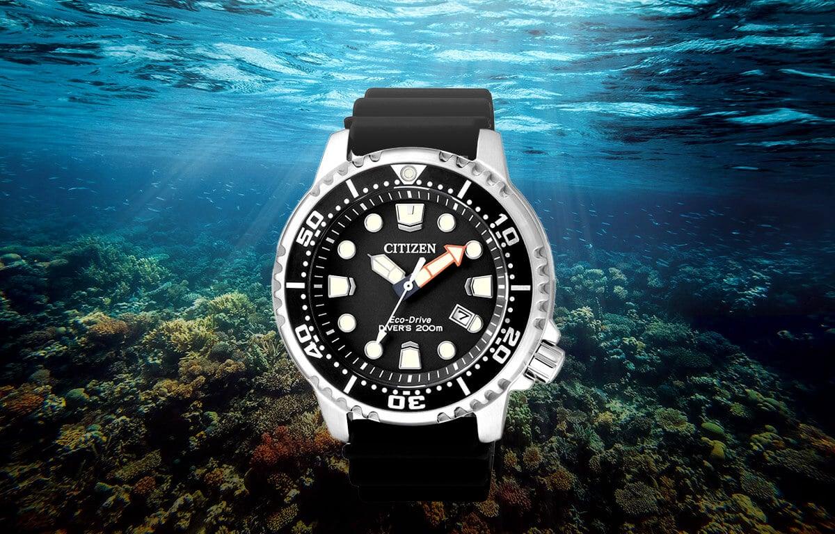 Ceasuri de scufundare cu stil Citizen BN0150-10E cu o curea din silicon