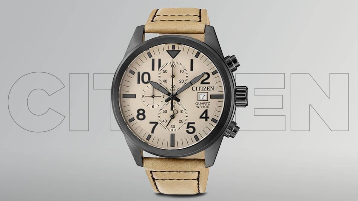 Ceasul ieftin Citizen pentru bărbați cu o curea maro